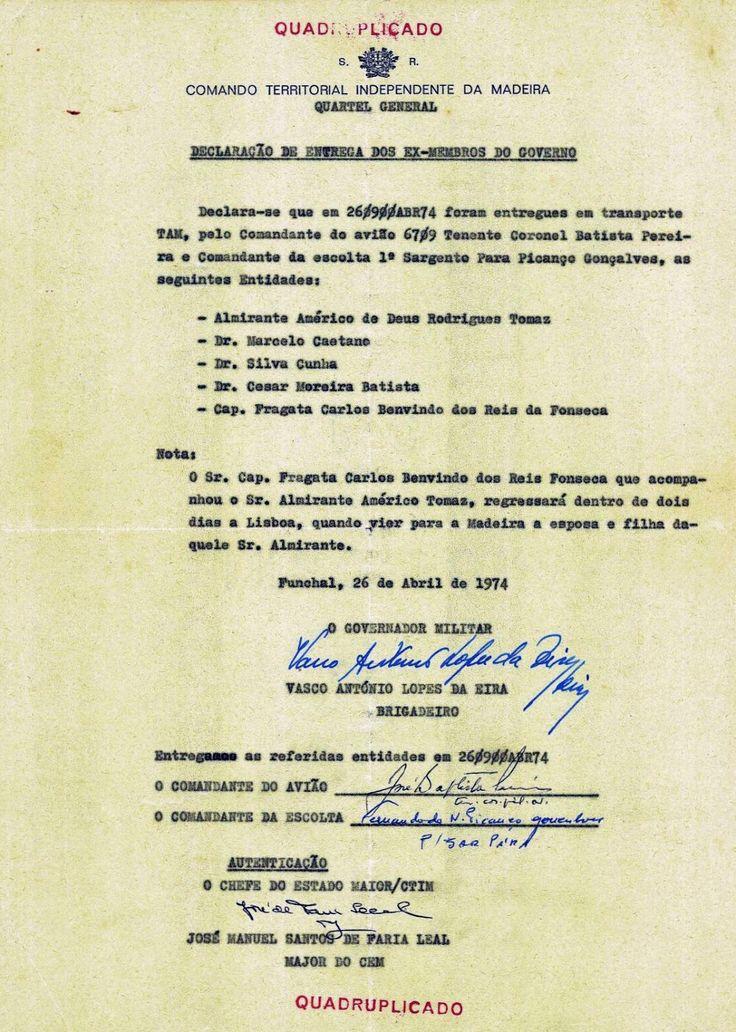 Entre as brumas da memória: 26.04.1974 – «Declaração de Entrega dos Ex-Membros do Governo»