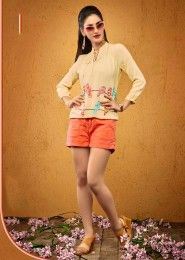 Casual Wear  Crepe Yellow Embroidered Work Top