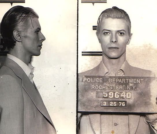 On average, nobody looks good in a mug shot, but David Bowie is anything but average. The Thin White Duke was busted in March of 1976 for pot possesion, along with fellow rocker Iggy Pop and two other men.