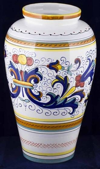 Hand-Painted Ceramics Ricco Deruta Tiber Vase