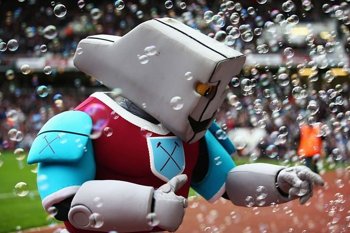 According to West Ham's official website, Hammerhead was created 'when a bolt of lightning hit the Iron Works,' where West Ham were originally formed and 'a mighty warrior of iron was born'. Wow