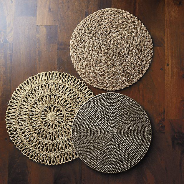 Artesia Grey Rattan Round Placemat Crate And Barrel