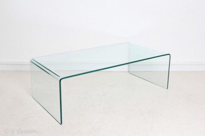 Table basse en verre courbé transparent, 1970s