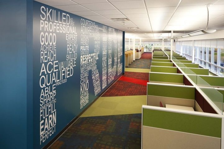 Office interior design innovative graphics feature walls for Corporate office design