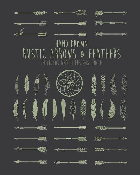 Hand Drawn Rustic Arrows Feathers And Dream Catcher Clipart Etsy How To Draw Hands Dream Catcher Clipart Geometric Tattoo