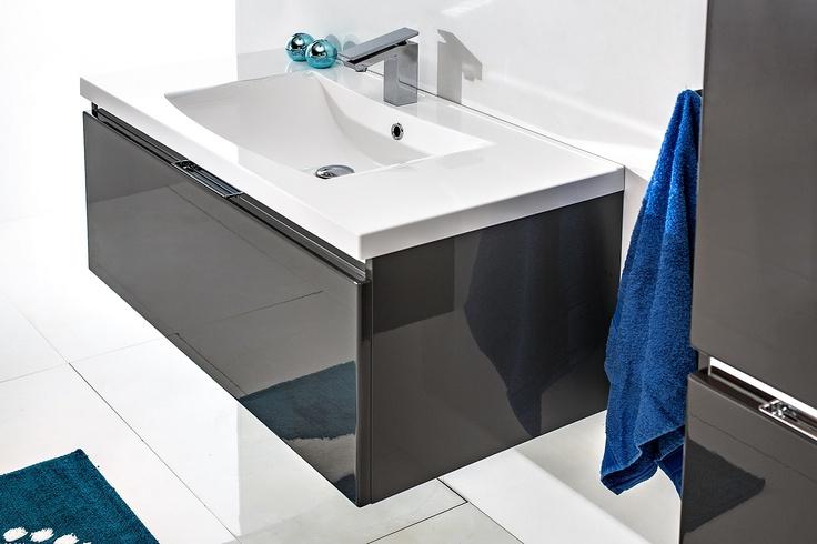 FSM bathroom furniture in dark glossy grey / łazienka #bathroom #furniture #washbasin #minimalist #contemporary #grey