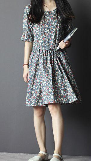 Cotton sundress floral summer fit flare dresses