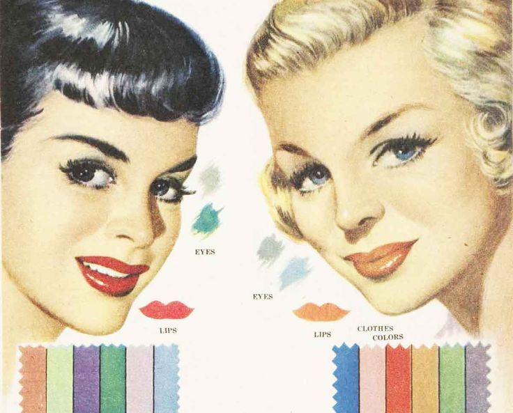 Color-Harmony-in-1951---brunette-and-blonde Source: http://glamourdaze.com/2016/03/1950s-makeup-color-harmony-in-1951.html