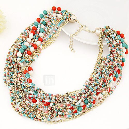 Women's Strands Necklaces Statement Necklaces Jewelry Alloy Fashion European Elegant Bohemian Festival/HolidayBlack Beige Red Blue 2017 - $2.99