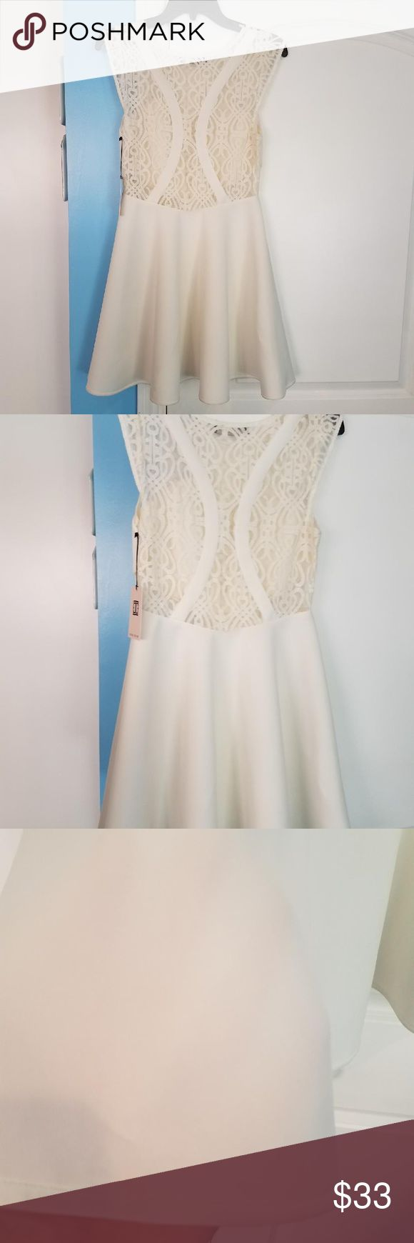 NWT Ivory/ white Ivanka Trump lace inset Sz 10 New with tags. Very sexy, but stylish white/ Ivory dress with lace insets. Flirty and fun. This was purchased from a sample sale. Never worn! Comes from a smoke and pet free home. Has a very small dust pattern on the side of the skirt. It needs to be washed. I don't want to wash then sell because then I'd have to remove the tags. Definitely something that can even be wiped away. Ivanka Trump Dresses