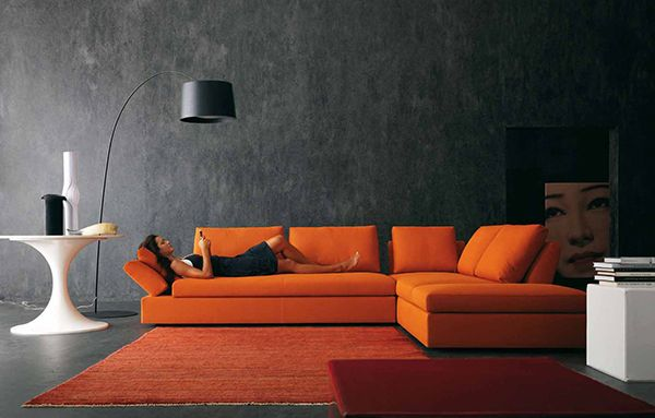 Would love the couch in light grey...orange couch and carpet on a gray background