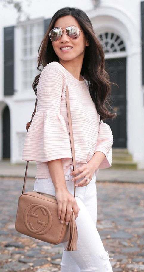 Blush pink bell sleeve top