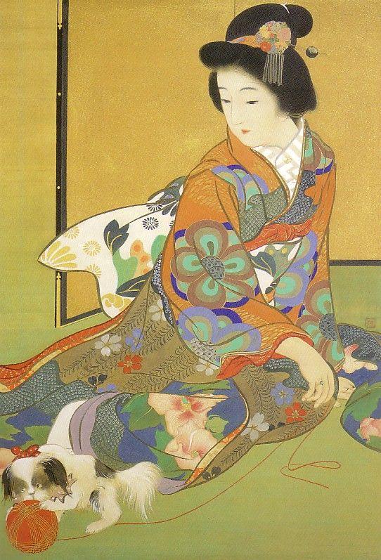 鏑木清方 Kiyokata Kaburagi (1878-1972)「婦女狆と遊ぶ」