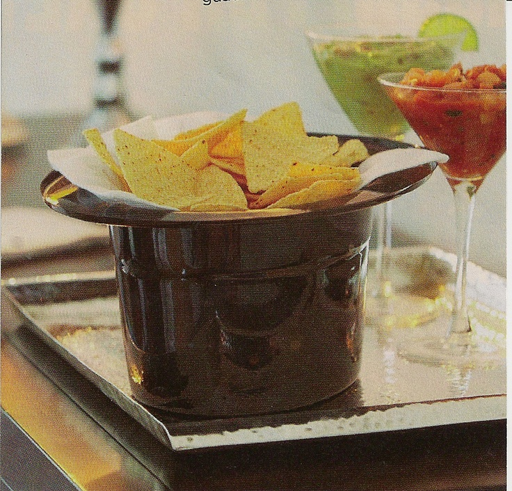 TOP HAT HOSTESS! This New Year's Eve, try a swanky twist on chips and dip. Flip over a plastic top hat, line with paper napkins, and fill with chips; stash salsa and guacamole in martini glasses. Find more fun entertaining ideas at The Day...Your Way Facebook page.Paper Napkins, Chips, Holiday Ideas, Fun Entertainment, Parties Ideas, Snacks Ideas, Entertainment Ideas, Martinis Glasses, Tops Hats