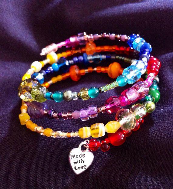 Rainbow, memory wire bracelet on Etsy, $11.00