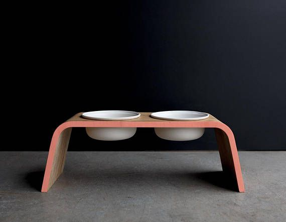 Coloured Edge Modern Dog Feeding Stand. Wood and Earthenware