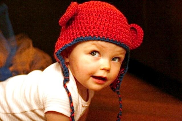 My niece wearing sweet monkey hat with flower.      -  Monkey Hat  - I love this monkey hat! It's so fun! You can make it with or wit...