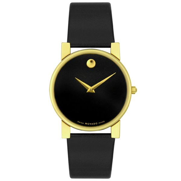 Men's Moderna Goldplated Black Dial - Movado Watch