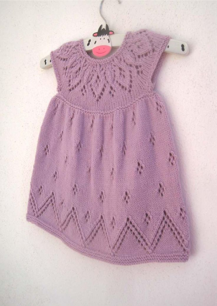 "Bethany Dress. Pretty and sophisticated with a gorgeous lace yoke and hem. Knit in the round from the top down, comes in 7 sizes from Preemie to 6-year-old girl (to fit 12"" - 24"" Chest). This gorgeous pattern comes with the instructions to knit the cap sleeved, short sleeved and long sleeved versions making this pattern excellent value for money!"