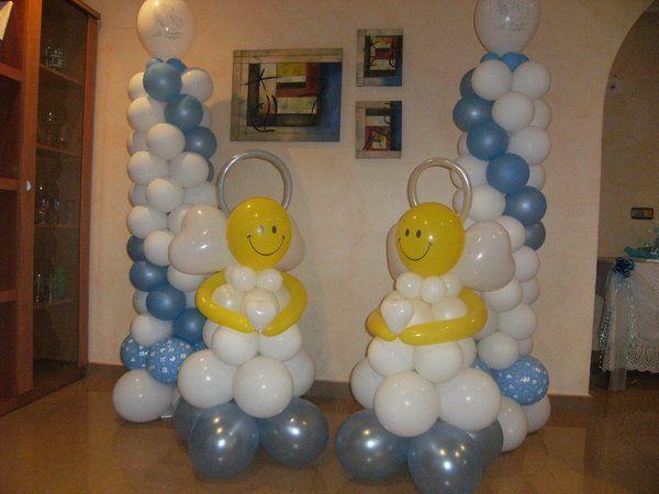 decoracion con globos para bautizo