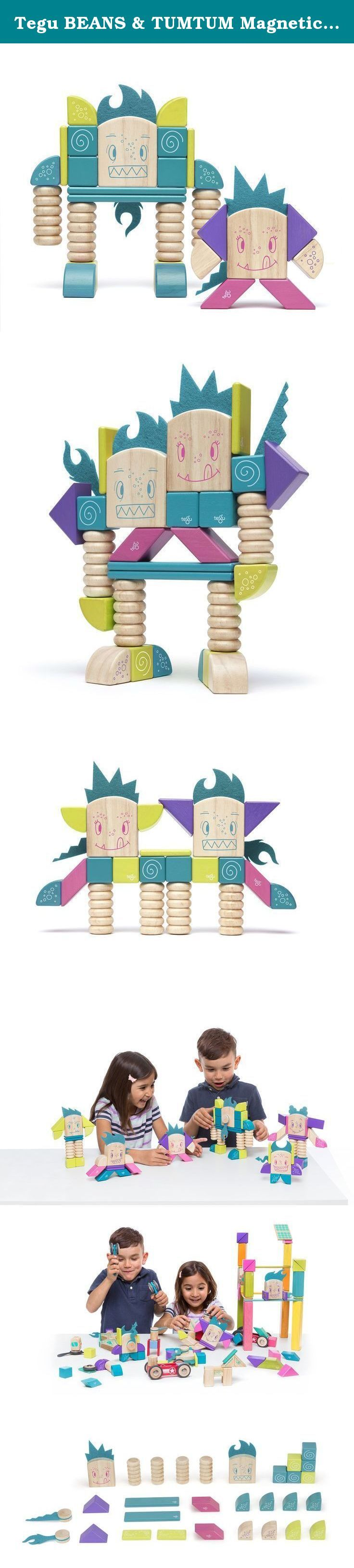 Tegu BEANS & TUMTUM Magnetic Wooden Block Set. Tegu Sticky Monsters are a cozy group of friends with rambunctious personalities. Whether listening quietly or devising the perfect prank, this chummy troupe of scallywags always STICKS together (and to fridges, washing machines, spoons.). With compatible magnetic wooden shapes and complementary personalities, they join forces to bring out the best in one another, just like all great friends! Designed in the USA, purposefully made in Honduras...