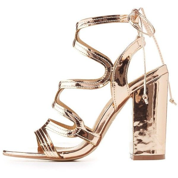 HRH Metallic Caged Tie-Back Sandals ($25) ❤ liked on Polyvore featuring shoes, sandals, rose gold, metallic sandals, metallic heeled sandals, slingback shoes, caged heel sandals and cut out heeled sandals