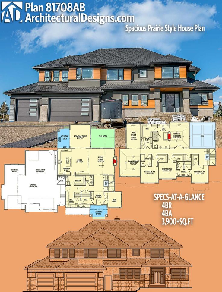 Architectural Designs House Plan 81708AB 4BR