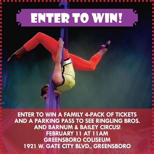 Giveaway-2/referrals/287ba28a-4b30-4e39-8c2a-1aa2f7d32e65 for chance 2 win 4 tickets to the Feb. 11 show in Greensboro, NC of the Ringling Brothers Circus. #Giveaway