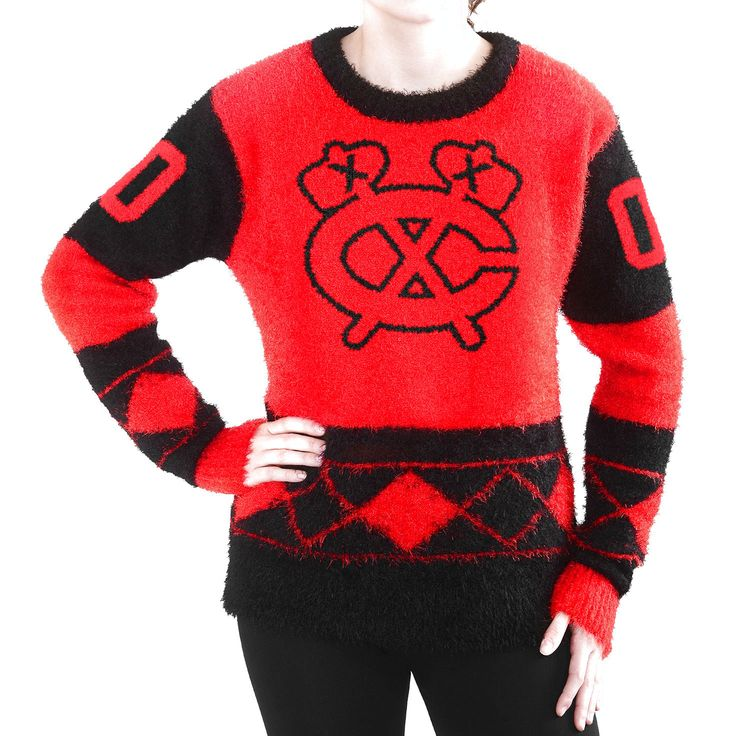 Women's Chicago Blackhawks Klew Red Eyelash Ugly Sweater - $59.84