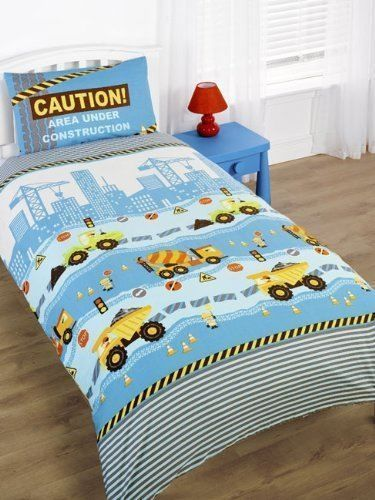 Boys Blue Construction Digger JCB Kids Junior Toddler Bed Duvet Cover Bed  Set