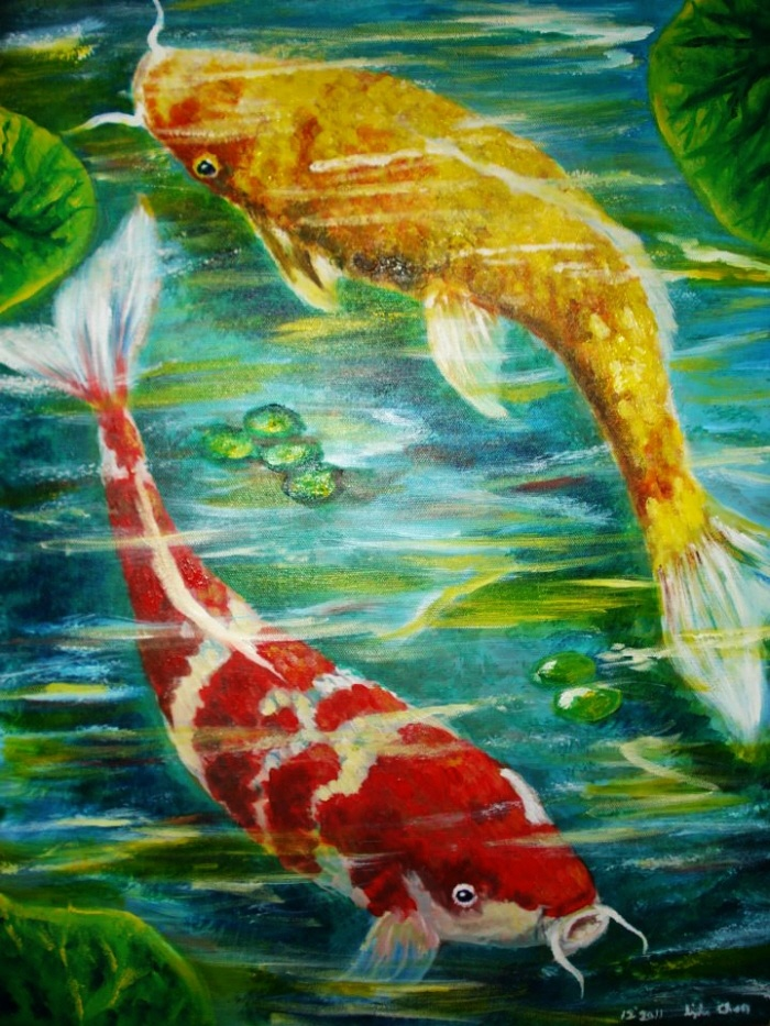 13 best images about koi fish on pinterest koi art for Two koi fish