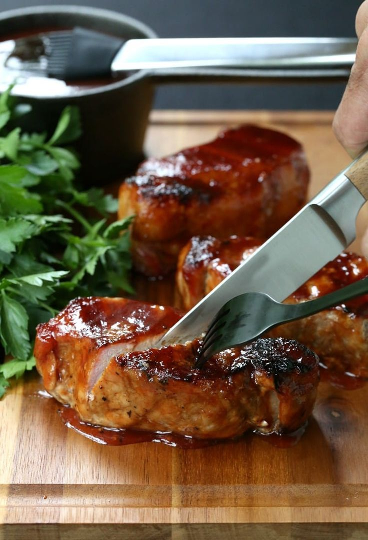 Cider Brined Pork Chops with Brown Sugar Applewood BBQ Sauce - perfect for Father's Day!