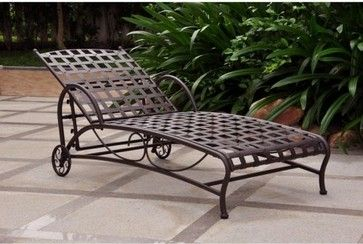 International Caravan Santa Fe Wrought Iron Multi Position Single Outdoor Chaise traditional outdoor chaise lounges