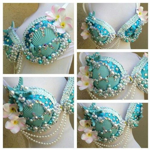 Mermaid rave costumes halloween rave bra