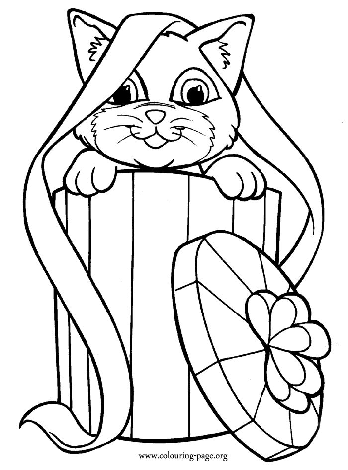 In this beautiful coloring page, the cat is peeping out from inside ...