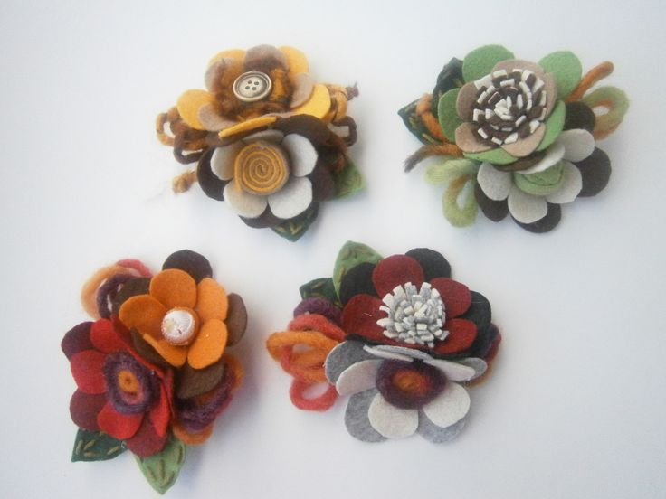 brooches-Felt flowers