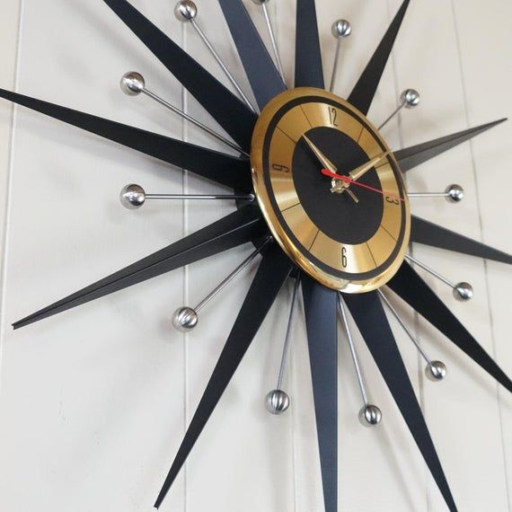 Vintage Welby Clock Company Starburst Sunburst Atomic Eames Era Black Silver Brass Wall Clock Very Clean Classi In 2020 Wall Clock Clock Mid Century Candle Holders