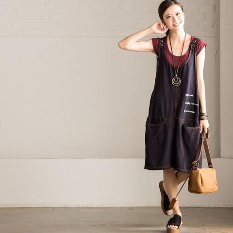 Vintage Big Pocket Dress Q6096A