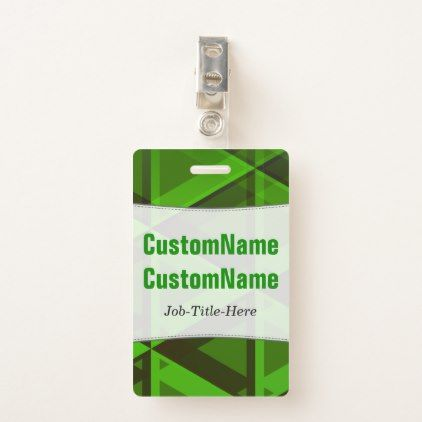 Abstract Green Triangles Pattern; Customized Name Badge - pattern sample design template diy cyo customize