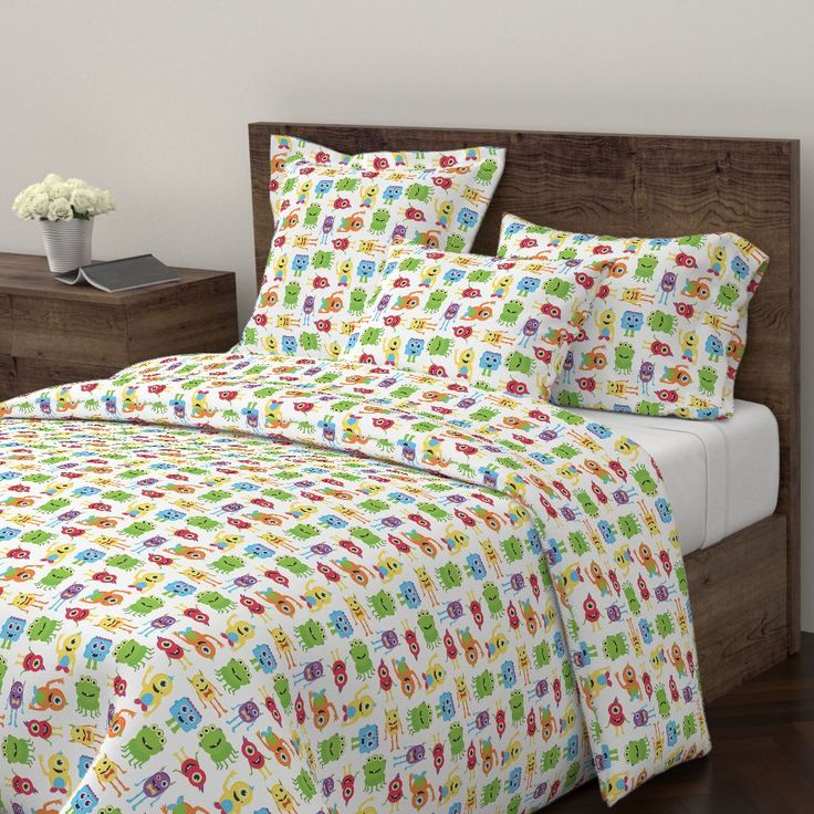 Wyandotte Duvet Cover featuring Cute Little Monsters by jannasalak | Roostery Home Decor