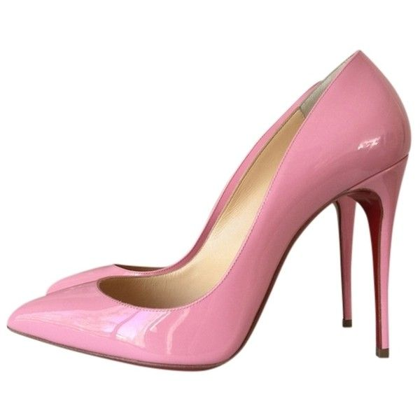 Pre-owned Christian Louboutin Pigalle Follies 100 Rose Patent Leather... ($625) ❤ liked on Polyvore featuring shoes, pumps, pink, pink patent leather shoes, pre owned shoes, pink shoes, pink patent leather pumps and rosette shoes