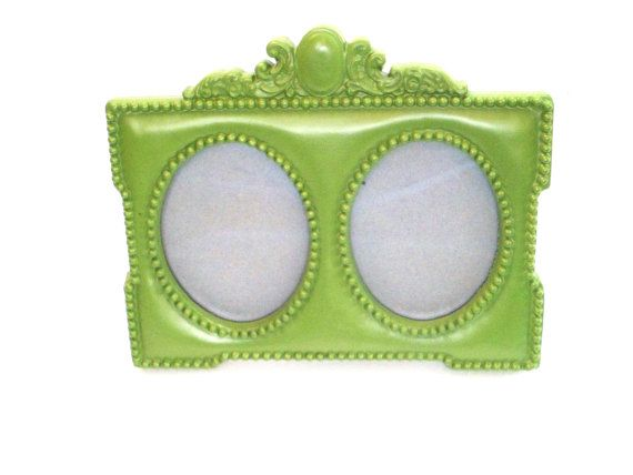 love this little guy! Bright green picture frame with two openings by SweetSomeday