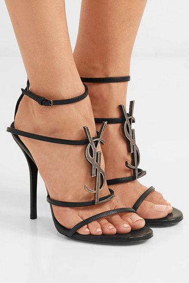 802cfc306e7 Saint Laurent - Cassandra logo-embellished leather sandals in 2019 ...