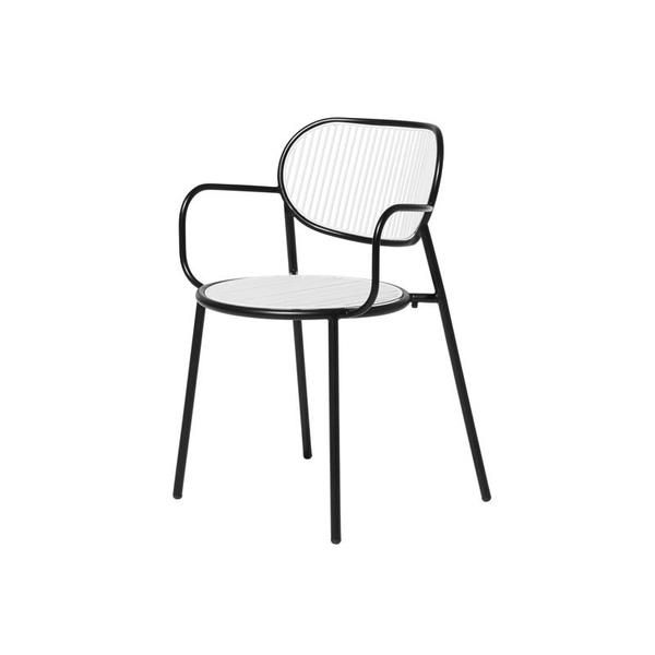 Black White Piper Chair with Armrests   Indoor & Outdoor Metal Furniture   DesignByThem   GibsonKarlo