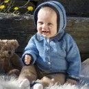 Strikkeoppskrifter og garnpakker til baby. Hentesett, babyteppe, lue, sokker, votter, kjoler med mer.