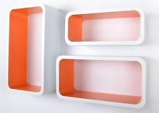 3 Piece White & Orange Retro Floating Cube Shelves.Oval Bookcase.CD/DVD