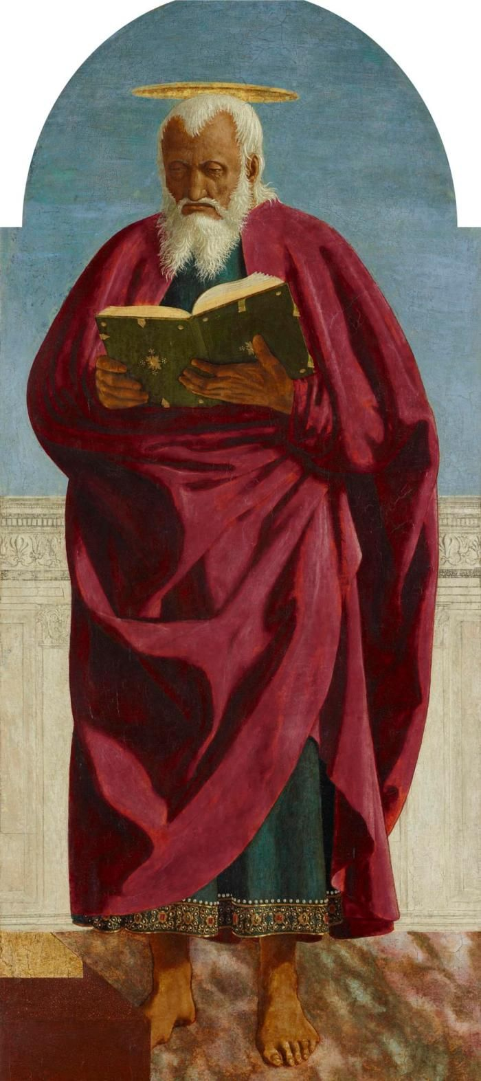 tempera painting of St. John the Evangelist wearing a crimson mantle and blue-green robe