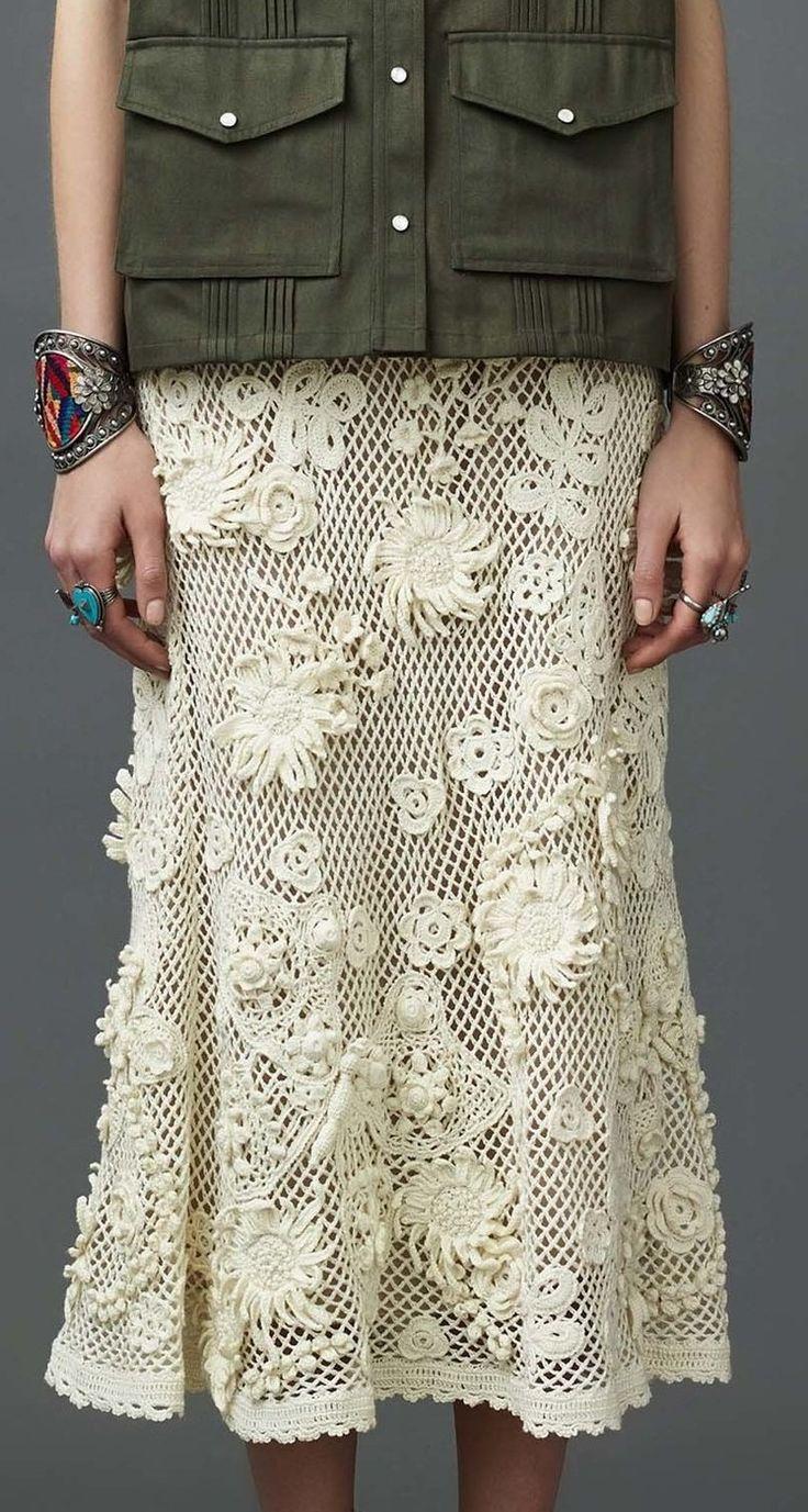 Valentino Ivory crochet skirt