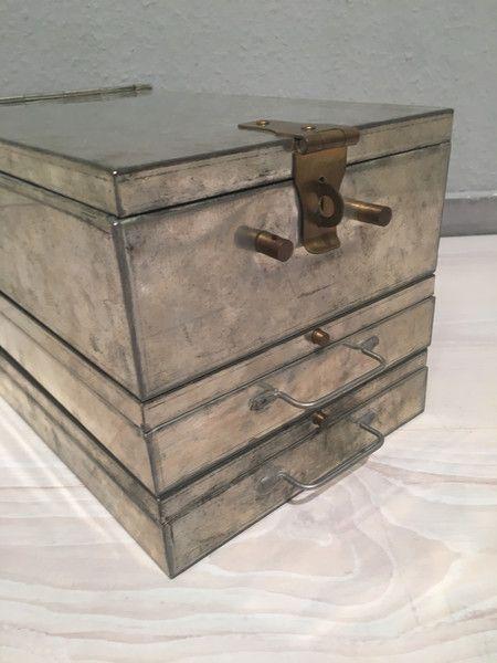 Vintage Tische - 3 alte Bank Schließfach Kassetten No.2*MID CENTURY - ein Designerstück von Mid-Century-Frankfurt bei DaWanda