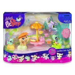 """Littlest Pet Shop: Themed Playpacks - Garden Party by Hasbro Toy. $29.98. Green Frog #479. Purple Blue Butterfly #478. Green Caterpillar (not numbered). Four pet playset with umbrella picnic table, teapot, teacups and more. Peach Bunny Rabbit #480. Gather all your favorite pet pals and welcome three new ones to your Littlest Pet Shop collection! It's time to celebrate spring or any occasion with this sweet set. Join your pets for a lazy afternoon of """"tea"""" and """"talk"""" u..."""